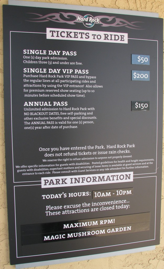 Hard Rock Park Prices