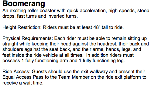 Six Flags Disability Guide for Boomerang