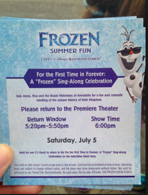 Frozen SingAlong Standby Return Card