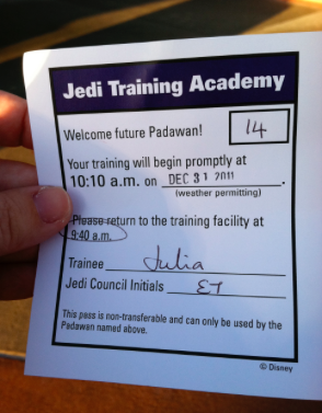 Jedi Training Academy Return Time Card