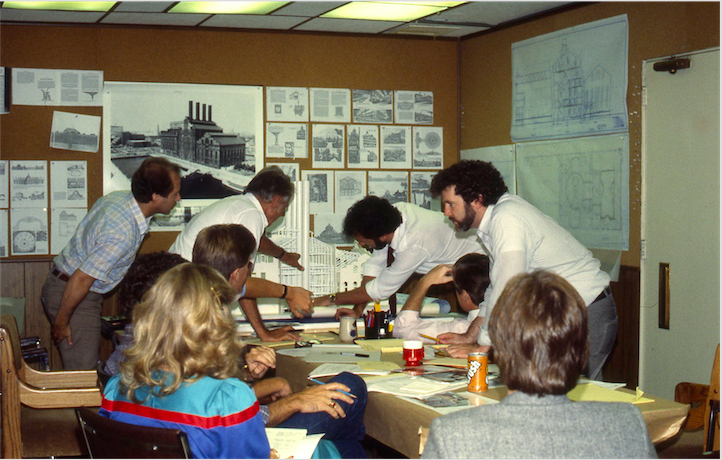 One of the very first meetings on site, in one of the construction trailer offices I believe, discussing the overall interior limits and sizing for the project with the project engineers. The engineers had prepared a structural model of the main building so that we could get a sense of the interior space. James Michaelson, Ed Sotto, Tony Christopher, Robert DeLapp and Gary Goddard are present as the project engineer introduces the building. Copyright The Goddard Group All Rights Reserved