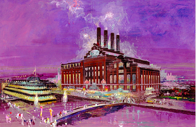 "Herb Ryman's initial illustration of the Power Plant when we were trying to sell Six Flags on creating more excitement on the street in front of building.  We were very concerned that the structure was imposing but not inviting.  There was really nothing on the exterior that told you something inside was fun and exciting.  We argued that we should create a line of shops along the main walkway, and a grand porte cochere at the main entry as well.  We wanted to light up the exterior like HARROD'S in London.  We wanted to add flags along the top of the building and even considered trying to sell Six Flags on having light fireworks fire out of the top of the smoke stacks every hour.  We also lobbied for a new restaurant and night time entertainment facility that would be located on a barge along the pier, creating a larger ""destination"" feeling for the area.  All of this was shot down for budgetary reasons, leaving a rather stark building exterior without any color or excitement. Copyright Gary Godd Entertainment All Rights Reserved"