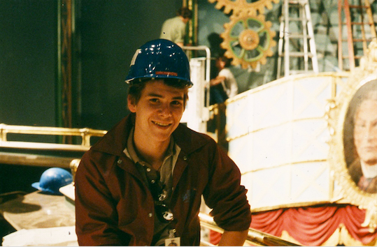 Show Designer Robert DeLapp in the Magic Lantern Theatre during installation Copyright The Goddard Group All Rights Reserved