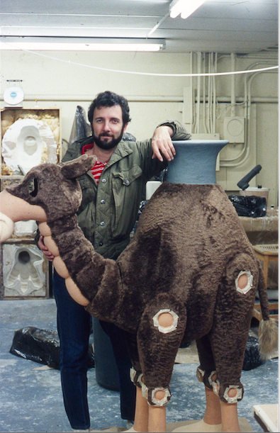 Tony Christopher at Sally Animation for inspection of one of the many animatronic characters that were part of the Magic Lantern Theatre Copyright The Goddard Group All Rights Reserved