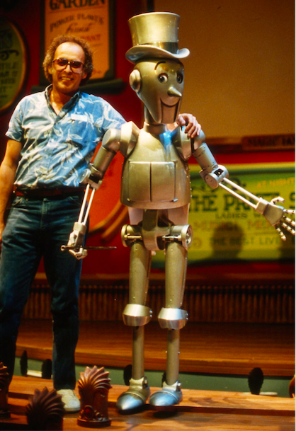 Project Manager Mike Rose with the full size MR. ELECTRO on the stage of the MAGIC LANTERN THEATRE Copyright The Goddard Group All Rights Reserved
