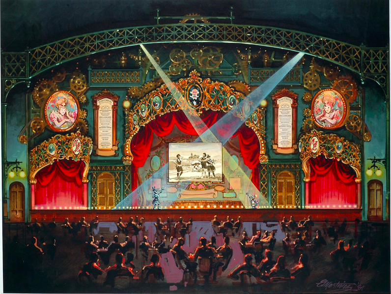 Eddie Martinez Color Study for the Proscenium Arch interior of The Magic Lantern Theatre Copyright Landmark Entertainment Group All Rights Reserved