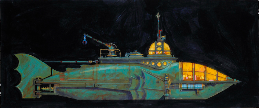 "Mike Marquez color sketch for a version of the Jules Verne styled ""Submarine"" which was part of the Grand Entry Hall interior design. Copyright Landmark Entertainment Group All Rights Reserved"