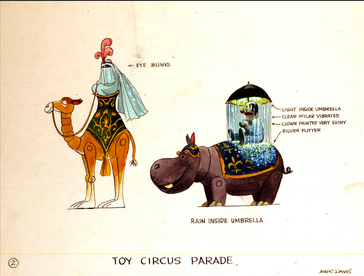 Marc Davis design for two of the featured characters in the Toy Circus Parade Copyright The Goddard Group  All Rights Reserved