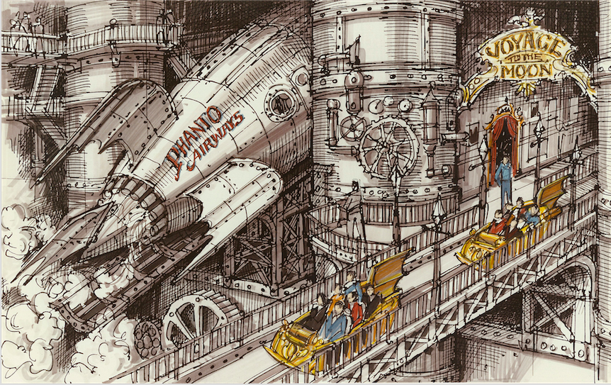 "In this sketch the people mover is passing THE JOURNEY TO THE MOON attraction which was conceived as a simulation ride taking people on a Journey into Space that would follow the traditional narrative of the Jules Verne tale, ""From the Earth to the Moon"" Copyright The Goddard Group All Rights Reserved"