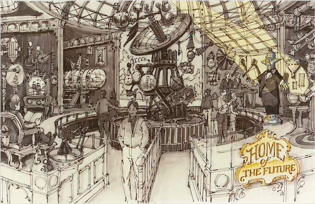 In addition to the rides, we would have shows one of which was to be the HOME OF THE FUTURE and is pictured here in an initial sketch. Copyright The Goddard Group All Rights Reserved