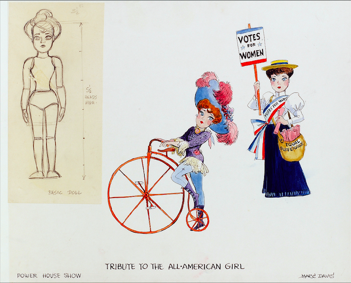 Marc Davis character design for the TRIBUTE TO THE ALL AMERICAN GIRL sequence in The Magic Lantern Theatre show.
