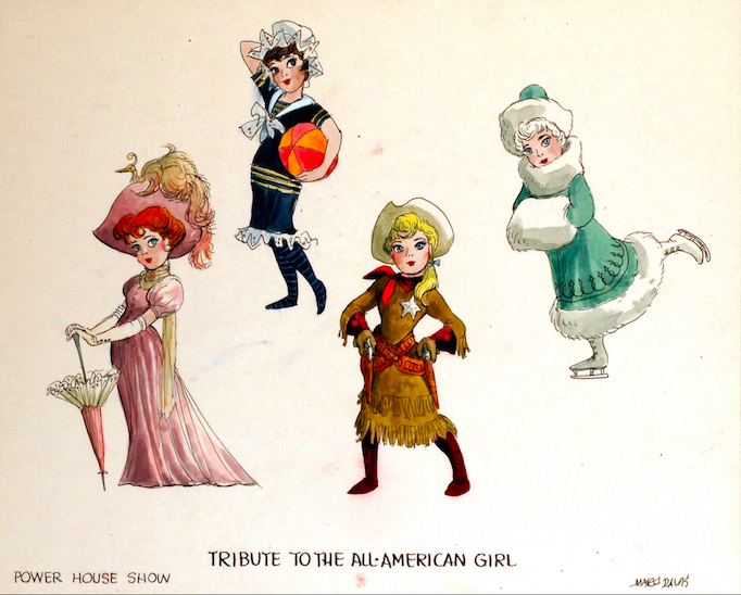 Marc Davis character designs for several of the more than twenty ALL AMERICAN GIRL sequence Copyright The Goddard Group All Rights Reserved